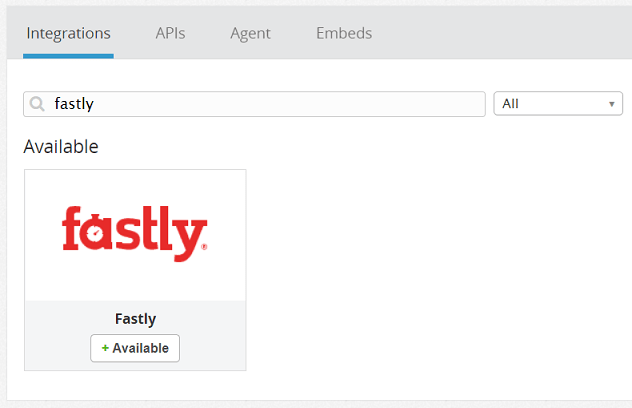 Fastly Integrationを選択