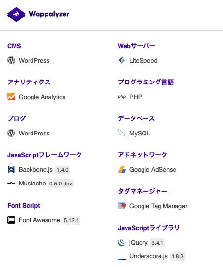 Webサイトの使用技術を調べる「Wappalyzer」が便利